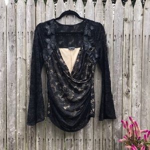 Venus | SEXY Black Floral Lace Flare Sleeve Top